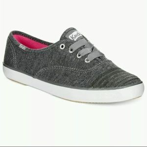 New Keds Charcoal Grey Glitter Stripe Toe Sneakers